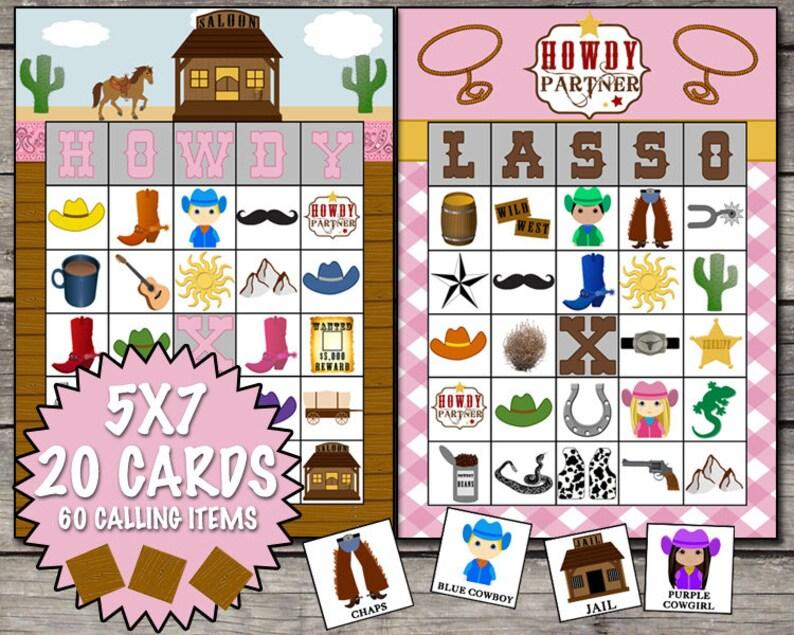 Cowgirl bingo game.