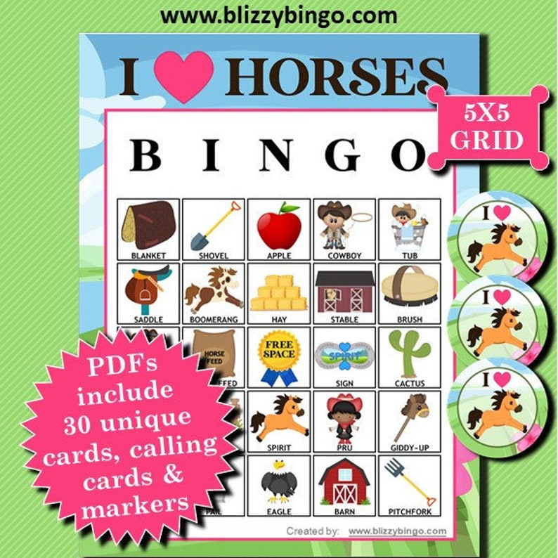 I Love Horses bingo game.