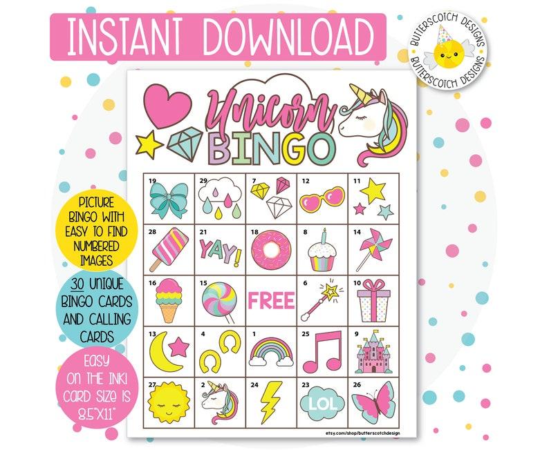 Unicorn Bingo Game.