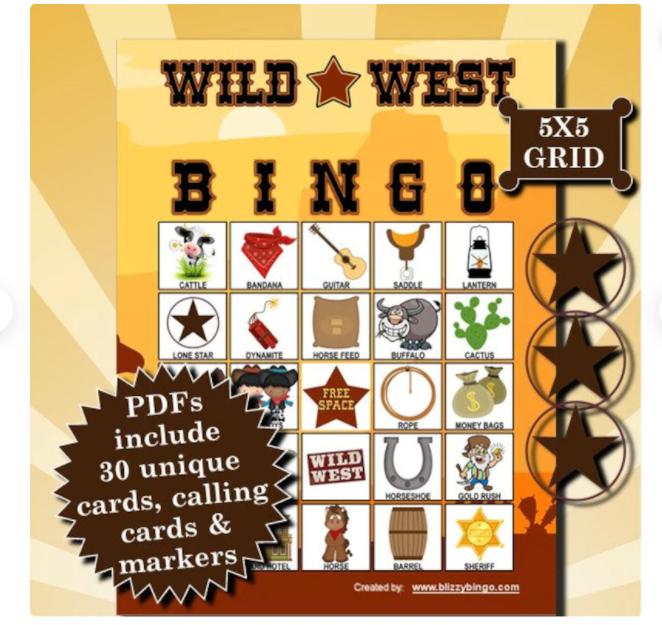 Wild West bingo game.