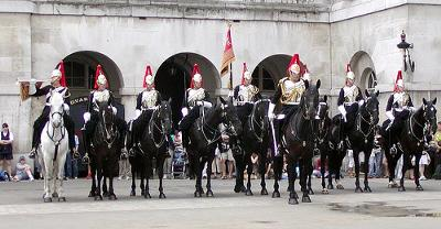 Members of the Horse guards in London England