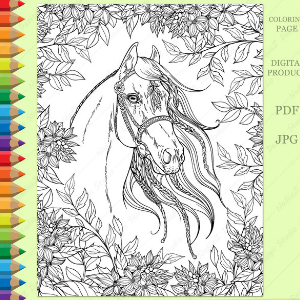 Adult Coloring Page of a Portrait of the Horse in the Garden
