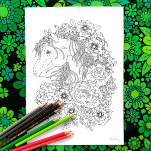 Linda Forsberg Flower Mane Horse Coloring Page for Adults