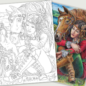 Wandering Girl With Horse Coloring Page for Adults