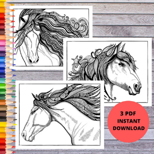 Magical Horse Head Horse Coloring Page