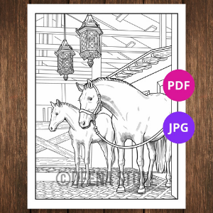 Mare with Foal Horse Coloring Page for Teens and Young Adults
