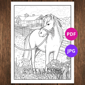 Pony with Flowers Printable Coloring Pages