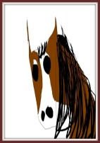 A painting of a paint horse head.