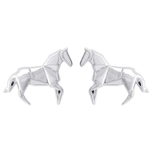 A pair of silver horse earrings.