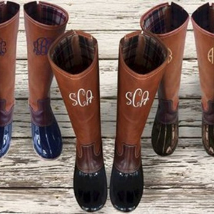 Tall Monogrammed Duck Boots for horse owners