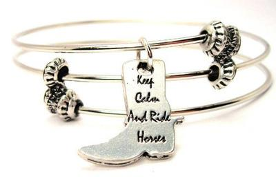 Keep Calm and Ride Horses Boot Shaped Triple Style Bangle