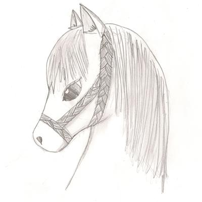 Pencil drawing of a cute anime pony. by Mari. I really like this picture.