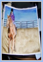 A watercolor painting of a girl riding a horse in a roundpen.