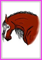 A drawing of a chestnut horse head.