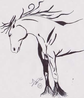 Silhouette horse drawing
