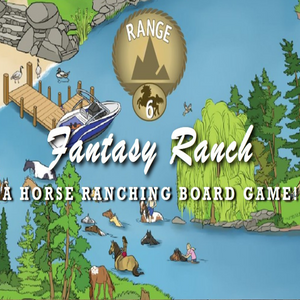 A picture of a graphic that says Fantasy Ranch A Horse Ranching Board Game. The graphic shows water and land with horses and people on both land and water.