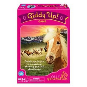 A picture of the box for the horse game by Our Generation called Giddy Up! Game.