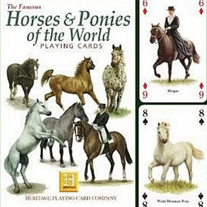 A picture of the Horses & Ponies of the World card box along with the front of three playing cards and the back of one of one playing card.