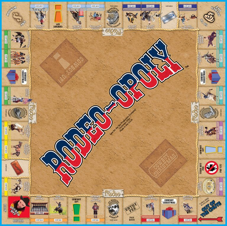 A picture of the board used in the Rodeo-Opoly board game.