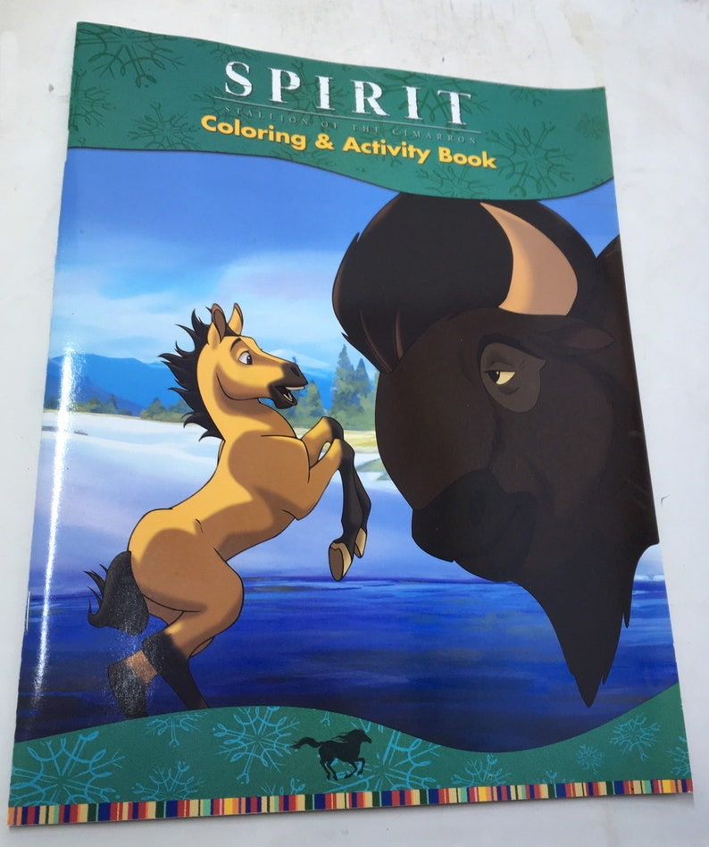 A picture of the front of a coloring and activity book that says Spirit Stallion of the Cimarron Coloring & Activity Book.