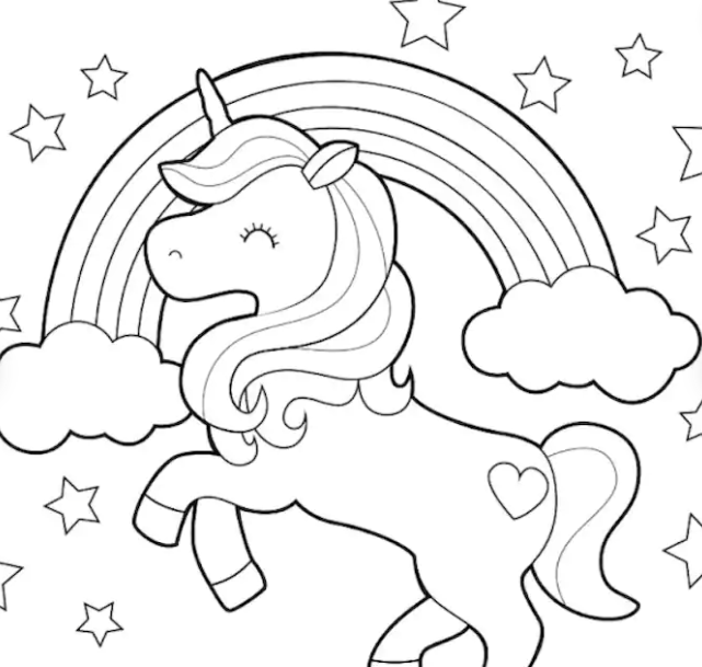 A coloring page featuring a unicorn in front of a rainbow.