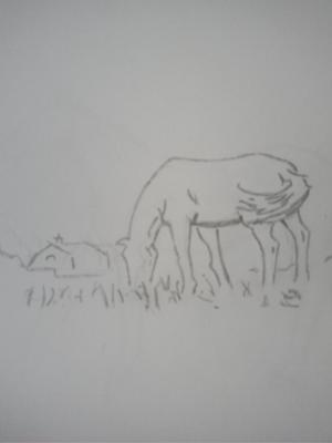 Grazing Horse by Anna