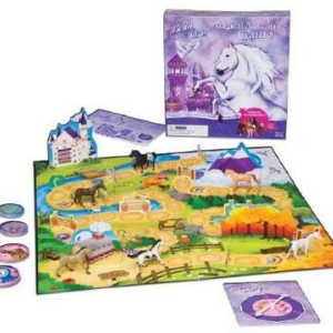A picture of the Bella Sara Magical Adventure Board game. The picture shows the front of the box and the actual board used in the game.