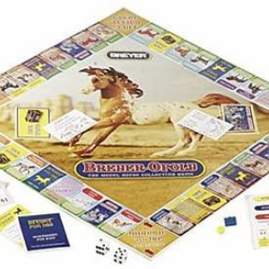 the second edition of the Breyer Horse Sense Board game with mini whinnies. The picture shows the board used in the game along with different pieces used for the game.