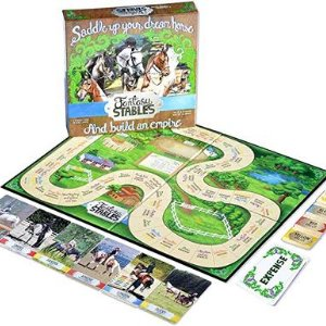 Fantasy Stables Board Game. The picture shows the top of the box of the board game along with the actual board used in the game along with several elements used in the game.