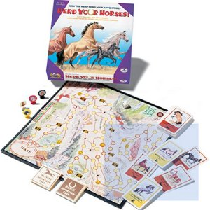 Herd Up Your Horses board game. The picture shows the top of the box of the game along with the actual board used in the game. There are also several elements used in the game shown in the picture.