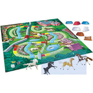 My Horse Show Board Game. This picture shows the actual board that is used in the game along with the different elements used to play the game.