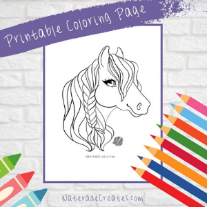 A coloring page featuring a beautiful horse head.