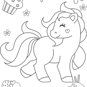 A coloring page featuring a sweet pony.