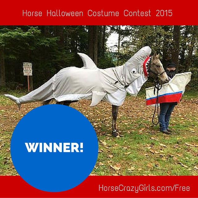 A horse in a shark costume being held by someone dressed as a fisherman in a boat costume.