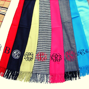 Monogram Personalized Scarf gift for a horse lover