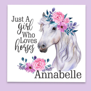 Boho Girls Horse Decor, personalized gift for a horse lover