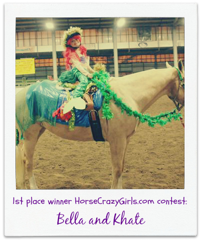 A girl dressed up as a mermaid riding a horse that is dressed up to look like the ocean.