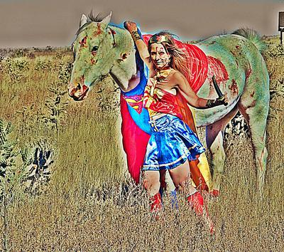 Zombie Superheroes HORSE AND RIDER